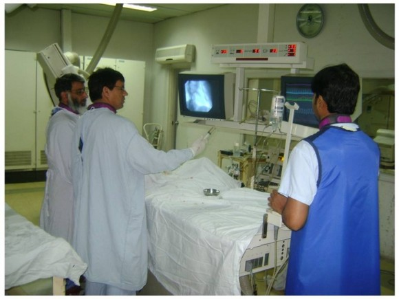cath lab team busy in procedure